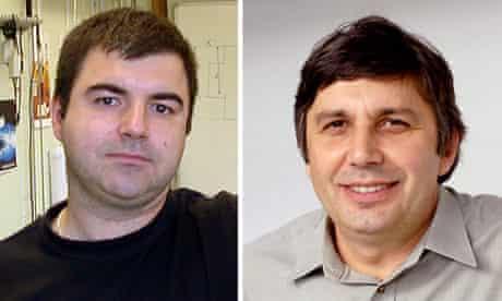 Nobel prize for physics winners Konstantin Novoselov (left) and Andre Geim