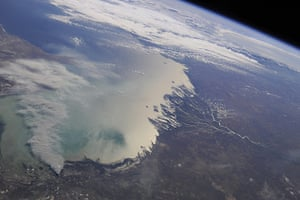 Satellite Eye on Earth  river deltas in Kazakhstan and Russia : Volga River and Ural River