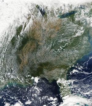 Satellite Eye on Earth  Clouds atmospheric art over Eastern US