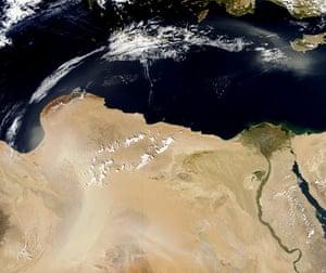 Satellite Eye on Earth  dust storm spread over Egypt, Libya, and the Mediterranean Sea