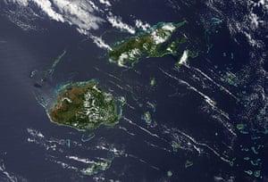 Satellite Eye on Earth  islands of Fiji and Vanua Levu