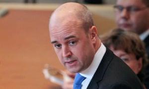 Sweden's Prime Minister Fredrik Reinfeldt
