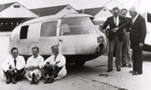 The nearly completed Dymaxion No 1 outside the Bridgeport factory in July 1933