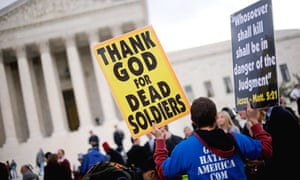 Churchgoers protest in front of the US supreme court as a case begins over military funeral protests