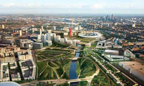 An artist's impression of how the Queen Elizabeth Olympic Park will look when it opens in 2013