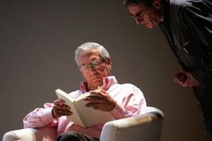 Mario Vargas Llosa: Mario Vargas Llosa, left, speaks with director Joan Olle