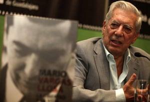 Mario Vargas Llosa: Mario Vargas Llosa with his book titled The Liberty and the Life