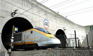 gh-speed Eurostar train from London leaving the Channel tunnel