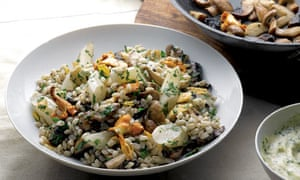 Mushrooms with salsify and barley