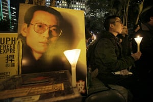 Liu Xiaobo Nobel Peace: Protesters hold a candle light vigil as they support Liu Xiaobo