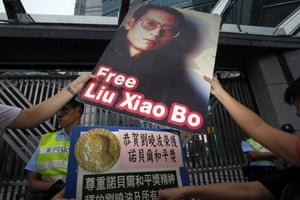Nobel prize: Protesters demonstrate outside the Chinese Foreign Ministry in Hong Kong
