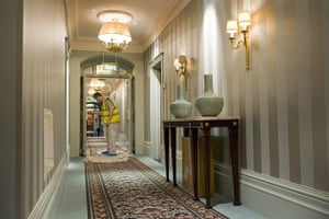 Savoy hotel reopens: Work continues in one of the upstairs corridors