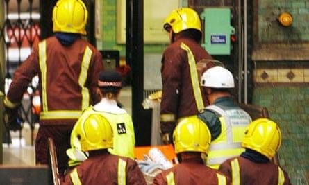 Firefighters at Aldgate station
