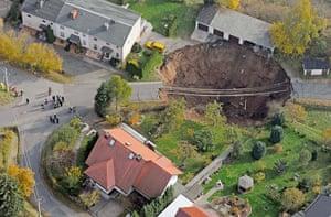 Germany sinkhole: Giant landslide under a residential street, Schmalkalden, Germany