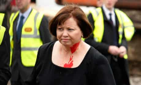 Mary Harney pelted with paint
