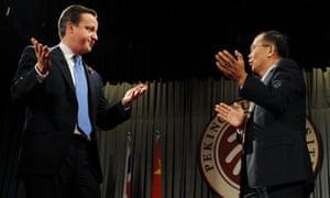 David Cameron and Lin Jianhua at Peking University in  Beijing on 10 November 2010.