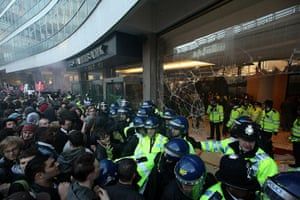Students protest: Students besiege Millbank Tower home of Conservative Party headquarters
