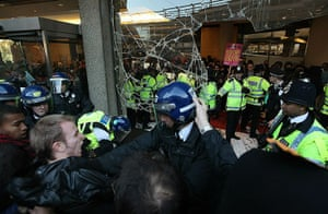 Students protest: Students clash with police outside Millbank Tower