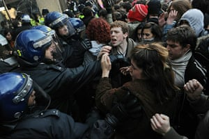 Students protest: Demonstrators clash with police outside Millbank during a student protest