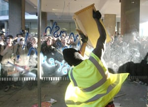 Students protest: Demonstrators smash the windows of Millbank Tower