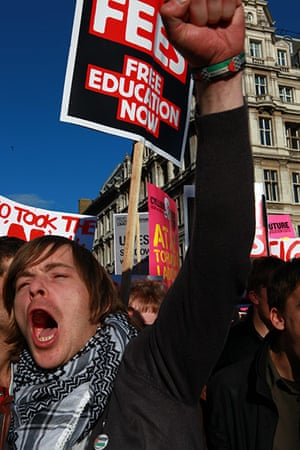 Students protest: Students protest in central London against an increase in tuition fees