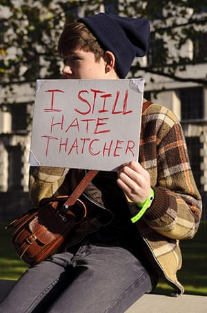Students and slogans: I Still Hate Thatcher - a student outside Parliament