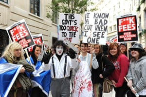 Students and slogans: Students including one dressed as Edward Scissorshands, demonstrate