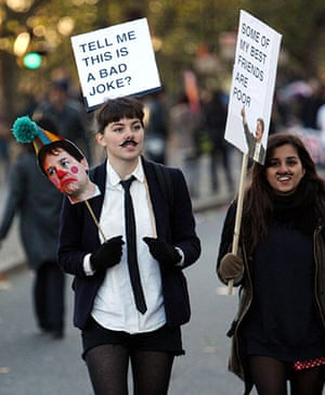 Students and slogans: Tell Me This a Bad Joke? placard