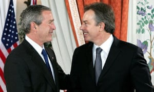George Bush shakes hands with Tony Blair in 2005
