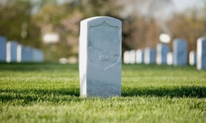 Gravestones at Arlington National Cemetery in America.