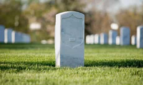 Gravestones at Arlington National Cemetery in America.