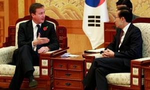 David Cameron talks to South Korean president Lee Myung-Bak in Seoul on 11 November 2010.
