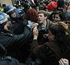 Demonstrators clash with police during student protest
