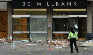 The aftermath of the student demonstration outside Millbank