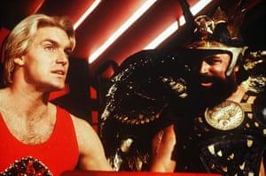 Dino Di Laurentiis: Sam J Jones and Brian Blessed in a still from the film Flash Gordon, 1980