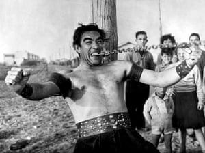 Dino Di Laurentiis: Anthony Quinn in La Strada, directed by Federico Fellini in 1954