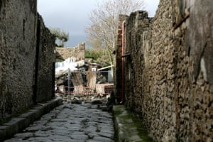 Pompei Ruins Collaps: House of the Gladiators, which recently collapsed, Pompeii, Italy