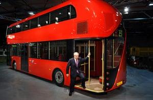 New Bus unveiled: Mayor Boris Johnson unveils a lifesize mock-up of the New Bus