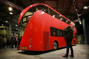 New Bus unveiled: A mock up of the New Bus for London is shown to reporters at Acton