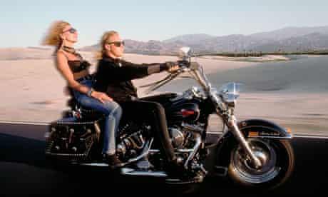 Riding a Harley Davidson in the Californian desert