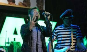 Damon Albarn performs with Gorillaz