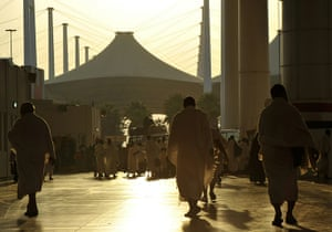 Hajj In Mecca: Muslim pligrims walk between Marwa and Safa hills in the Kaaba Mecca