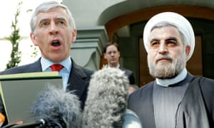 Jack Straw and Iran's top nuclear negotiator Hassan Rowhani in Geneva in 2005