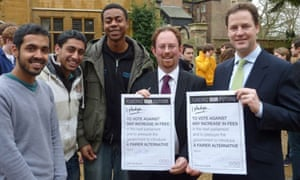 Nick Clegg holds up the pledge he signed in April to vote against any increase in tuition fees