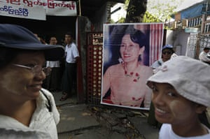 Suu Kyi Release: Supporters of Aung San Suu Kyi outside her political party office in Yangon