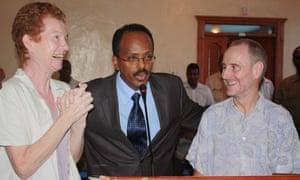 Paul and Rachel Chandler with Somali prime minister Mohamed Abdullahi Mohamed