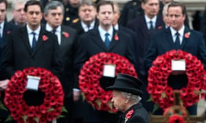 Ed Milliband, Nick Clegg and David Cameron joined the Queen at the Cenotaph on Remembrance Sunday