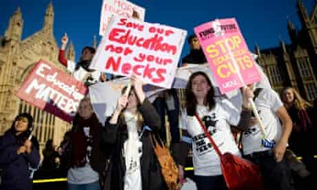 Students protesting in Whitehall