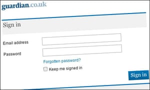 Guardian.co.uk sign in page