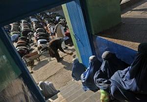 Eid al-Adha: Afghan women wait for the start of Eid al-Adha prayers